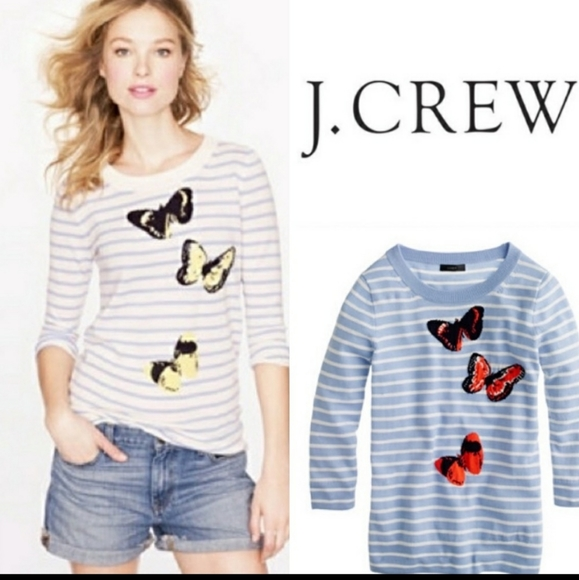 J.Crew Monarch Tippi Striped Butterfly sweater New